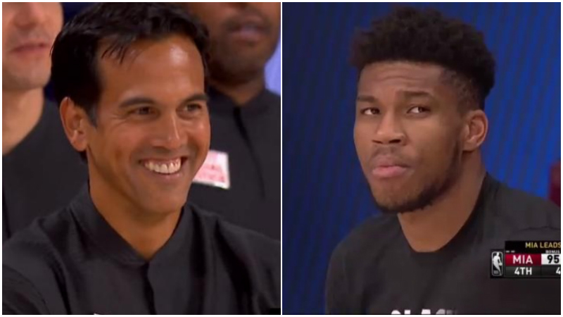 【影片】比賽最後時刻,熱火全隊哈哈大笑,誰注意到場邊字母哥的表情?