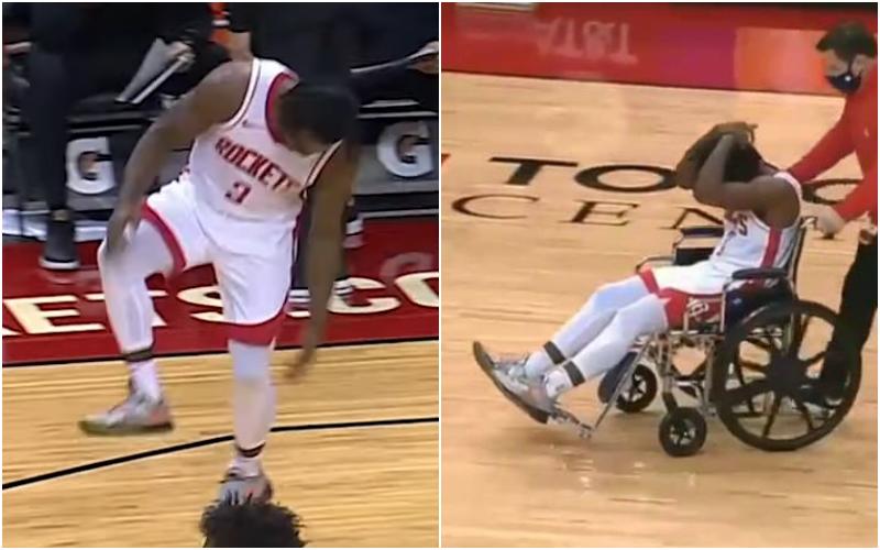 【影片】突發!火箭球員Clemons回防時無對抗受傷捂著跟腱,隨後坐輪椅離開球場…