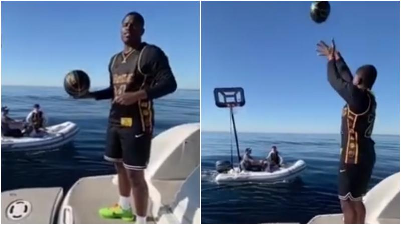 【影片】致敬老大!NBA御用訓練師海上投籃,指著自己的黑曼巴戰袍:Kobe,我們非常想念你!