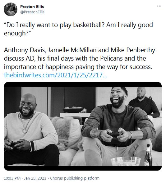 為什麼要離開鵜鶘?一眉哥:那一年我並不快樂,我不想去訓練,甚至不想打比賽!-黑特籃球-NBA新聞影音圖片分享社區