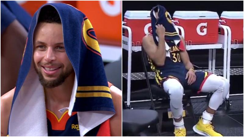 迎來大勝!柯瑞狂轟36分末節接管比賽,超遠三分一劍封喉,心情愉悅場邊捂臉大笑!(影)-黑特籃球-NBA新聞影音圖片分享社區