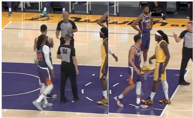 【影片】太大力?Booker不滿判罰擊地傳球給裁判,然後連續吃到兩個T遭驅逐…