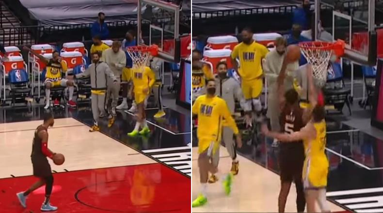 【影片】調皮的萌神!第三節比賽結束後,拓荒者Hood持球準備灌籃,不料被身後的柯瑞「偷襲」了…